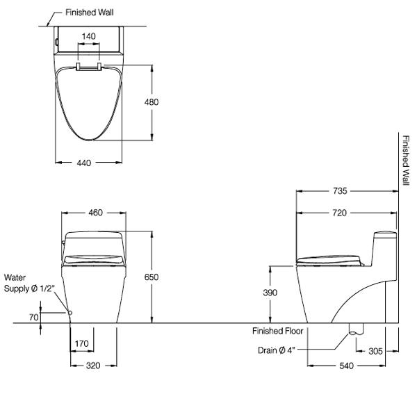 Bồn cầu Cotto 1 khối C10527R - bản vẽ kỹ thuật chi tiết